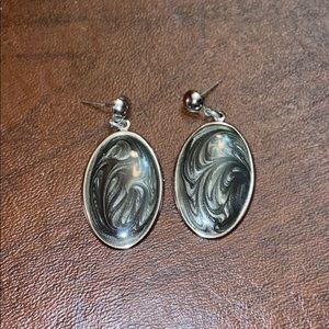 Black marble oval earrings